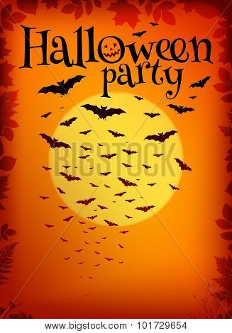 Orange Halloween party background with bats and moon
