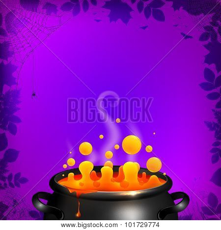Yellow vector potion in black cauldron on orange background