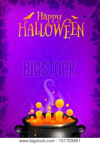 Purple Halloween poster template with orange potion in black cauldron