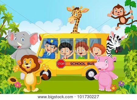 Cartoon school children on safari