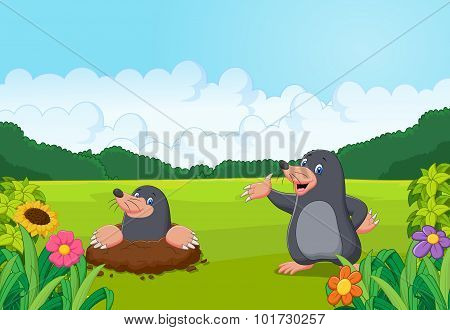 Cartoon happy mole in the forest