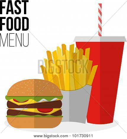 Lunch French Fries, Burger And Soda Takeaway Isolated On White. Flat Design. Fizzy Drink, Hot Dog, C