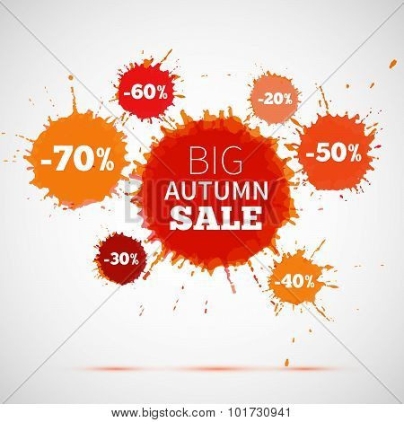 Sale Badge, Autumn Sale Label, Autumn Sale Banner. Vector Watercolor Banner With Ink Splashes. Sale