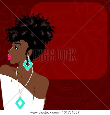 Dark red background with dark-skinned woman