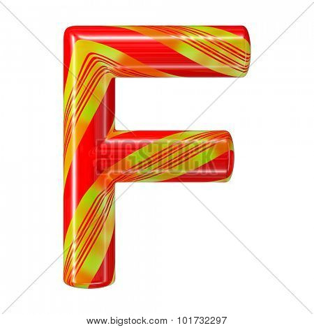 Mint hard candy cane 3d alphabet collection striped in Christmas colours. Letter F.