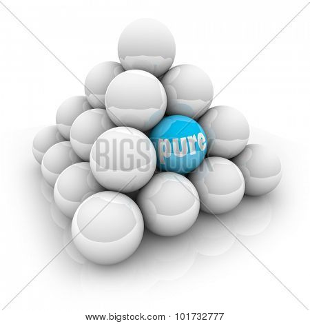 Pure word ball in a pyramid to illustrate special, different or unique natural or organic ingredients, purity, innocence, or honesty