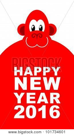 Happy New Year. Chinese New Year Red Monkey. Big Cute Monkey. Vector Illustration For Winter Holiday