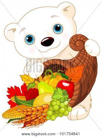 Illustration of Polar Bear Holds Horn Of Plenty