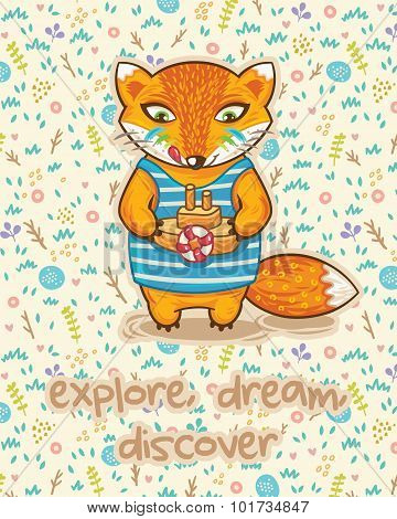 Explore dream discover. Cute card with little fox and ship.