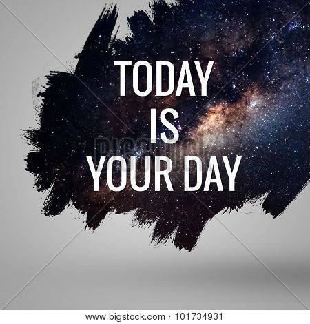 Motivational quote at deep space background. Artistic design for cards and posters