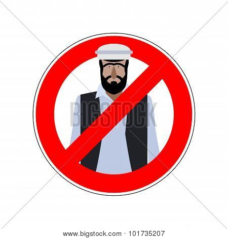 Stop Refugees. Emigrants Passage Prohibited. Prohibiting Sign For Expatriates. Vector Red Ban Sign F