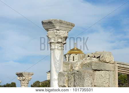 Early Christian Basilica And Saint Vladimir Cathedral, Chersonesus, Sevastopol, Crimea.