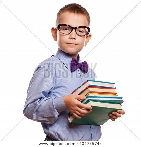 Happy Little Boy With Books Isolated On White Background