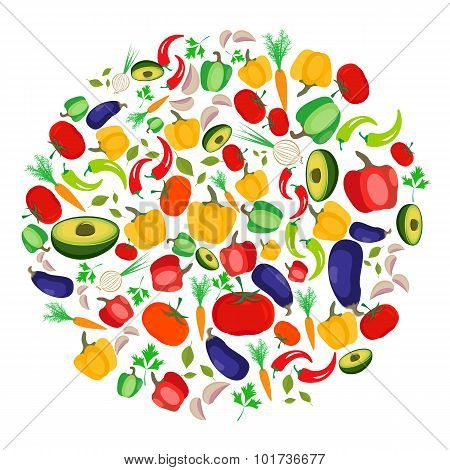 Colorful vegetables arranged in circle isolated on white