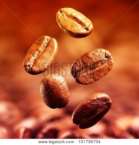 Closeup of coffee beans with focus on one. Filtered image: vintage effect.