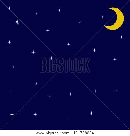 Night Sky With Shining Stars And Moon