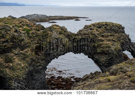 Volcanic laval rock formations along the coast line of Iceland