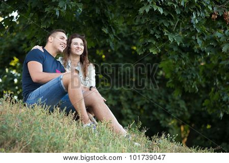 Couple Dreaming In Park