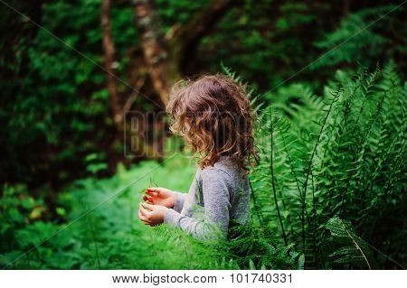 cute child girl with wild ferns on the walk in summer forest