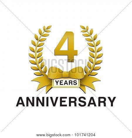 4th anniversary golden wreath logo