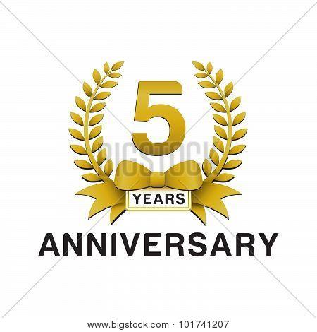 5th anniversary golden wreath logo