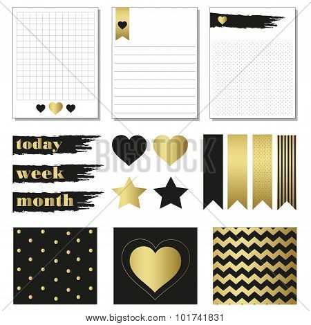 Cards and symbols for organized you planner.