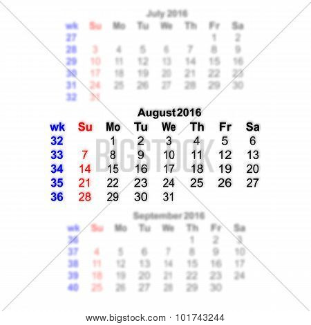 August 2016 Calendar Week Starts On Sunday