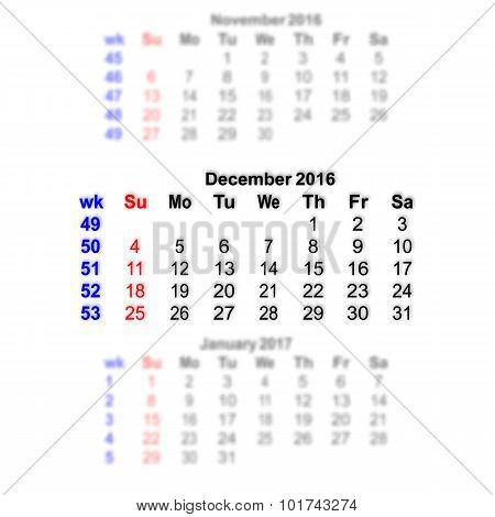 December 2016 Calendar Week Starts On Sunday