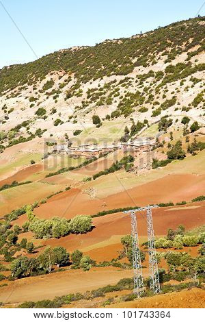 Dades Valley In Atlas Moroco Africa Electrical Line