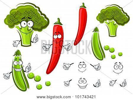 Green pea, broccoli and chilli pepper