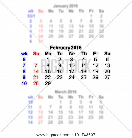 February 2016 Calendar Week Starts On Sunday