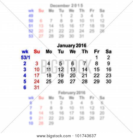 January 2016 Calendar Week Starts On Sunday