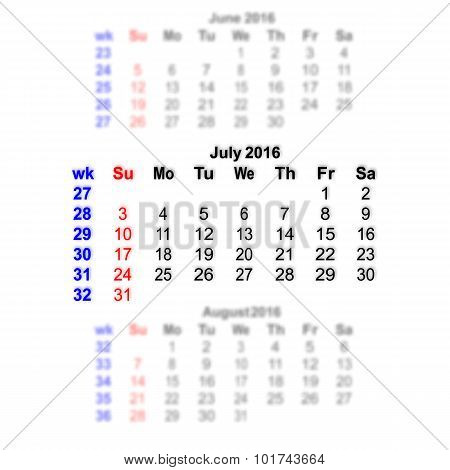 July 2016 Calendar Week Starts On Sunday