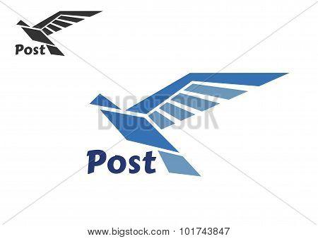 Blue postal bird abstract symbol
