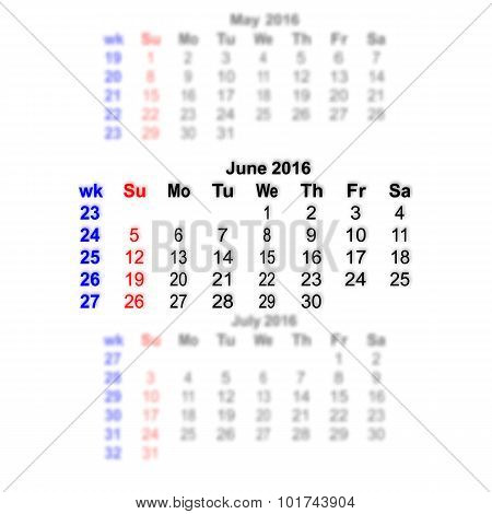 June 2016 Calendar Week Starts On Sunday