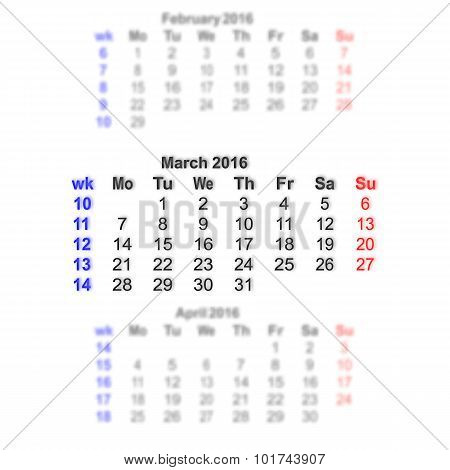 March 2016 Calendar Week Starts On Monday