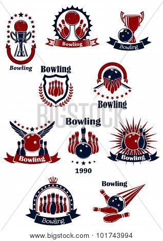 Bowling retro icons with balls and ninepins