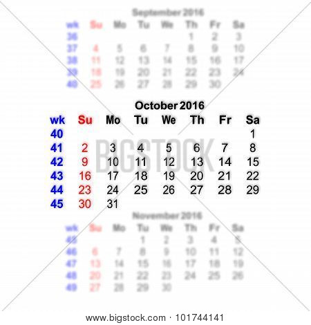 October 2016 Calendar Week Starts On Sunday