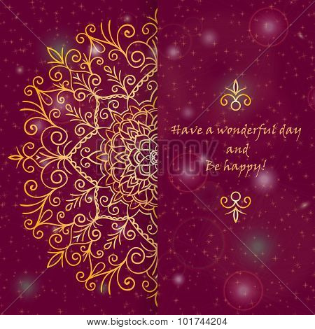 Template Greeting Card Design Decorated With Shiny Golden Pattern In Oriental Style
