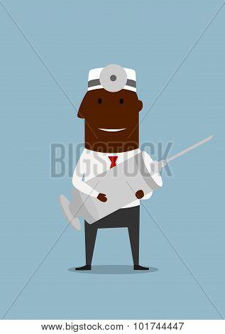Funny doctor with huge syringe
