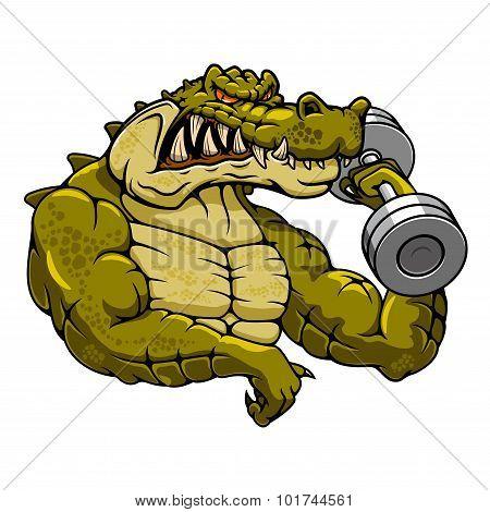 Cartoon crocodile mascot with dumbbell