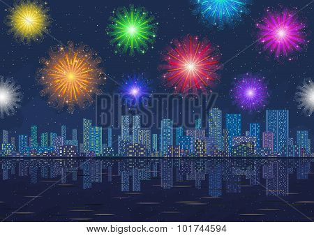 Seamless Night City Landscape with Fireworks