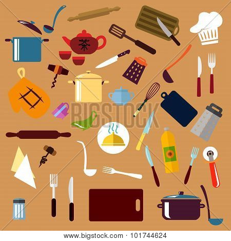 Kitchen utensil and cookware flat icons