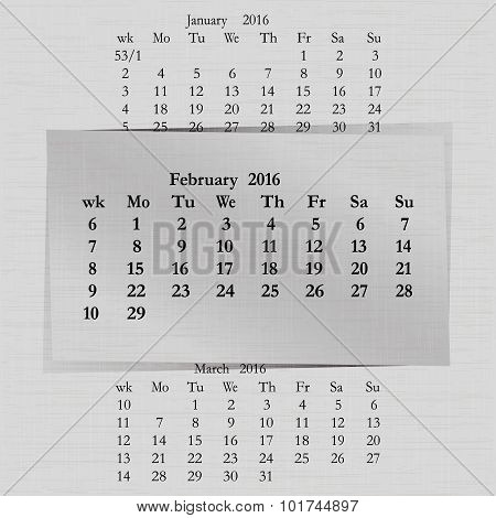 Calendar Month For 2016 Pages February Start Monday