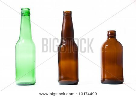 Three Emplty Beer Bottles On Isolated Backround.