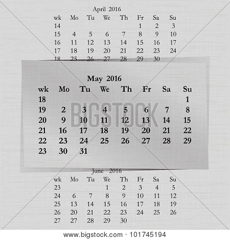 Calendar Month For 2016 Pages May Start Monday