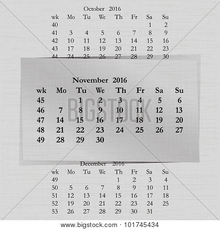 Calendar Month For 2016 Pages November Start Monday