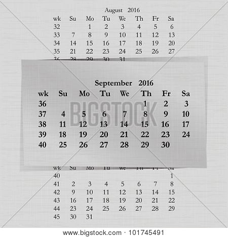 Calendar Month For 2016 Pages September