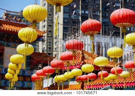Hundreds of lanterns hung across the courtyard of Wong Tai Sin temple in Hong Kong