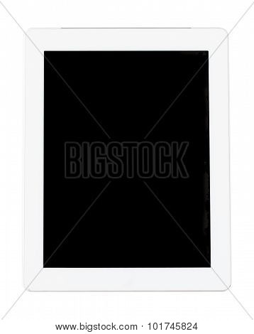Top view of white tablet computer isolated on white background